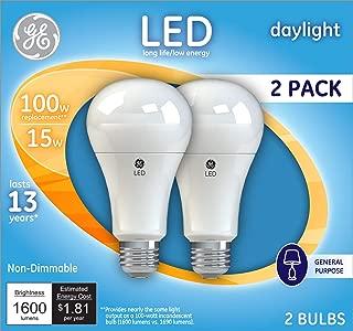 GE Lighting 21868 Light Bulb Daylight A21 LED 15-Watt (100-Watt Replacement), 1600-Lumen Medium Base, 2-Pack, Piece