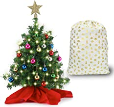 """20"""" Tabletop Mini Christmas Tree Set with Clear LED Lights, Star Treetop and Ornaments, Best DIY Christmas Decorations (St..."""
