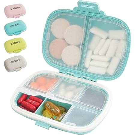 Pill Vitamins Organizer Black Case Travel White Home Office 4-8weeks#PBO-R008W#