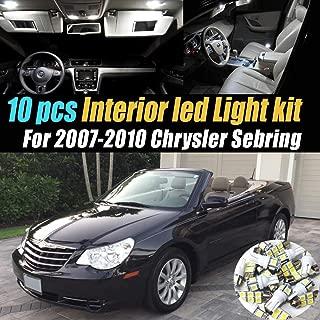 10Pc Super White 6000k Car Interior LED Light Bulb Kit Pack Compatible for 2007-2010 Chrysler Sebring