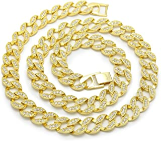 Fully Bling Icy Miami Cuban Link CZ Choker Necklace/Bracelet Gold Finish Lab Created Diamonds 15MM (8.5-30 inches)