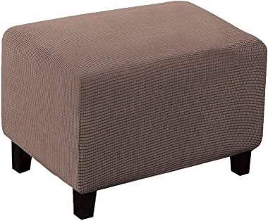 Rectangle Ottoman Cover Waterproof, Stretch Jacquard Footstool Cover Soft Ottoman Slipcovers with Elastic Bottom Footstool Pr