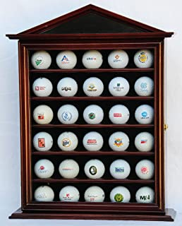 30 Golf Ball Designer Display Case Cabinet Holder Wall Rack -Cherry