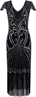 Vijiv Long 1920 Vintage Gatsby Beaded Embellished Fringe Cocktail Flapper Dress Black Silver XX-Large