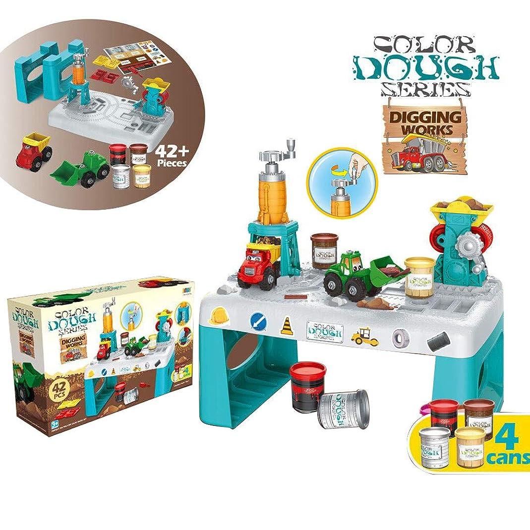 違反ロードハウスカレッジKonxxtt マジック粘土エンジニアリング建設おもちゃセット エンジニアリング車両2個付き クリエイティブなおもちゃ 子供へのギフト