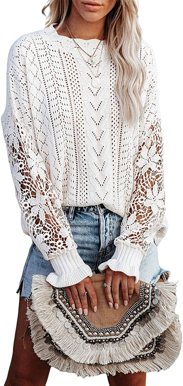 Jollycode Women's Lace Crochet Pullover Sweater Loose Casual Crewneck Long Sleeve Knit Pointelle Tops