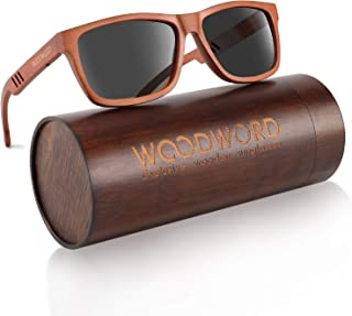 Polarized Wood Sunglasses for Men Women - Wood Frame Sunglasses with Wood Case