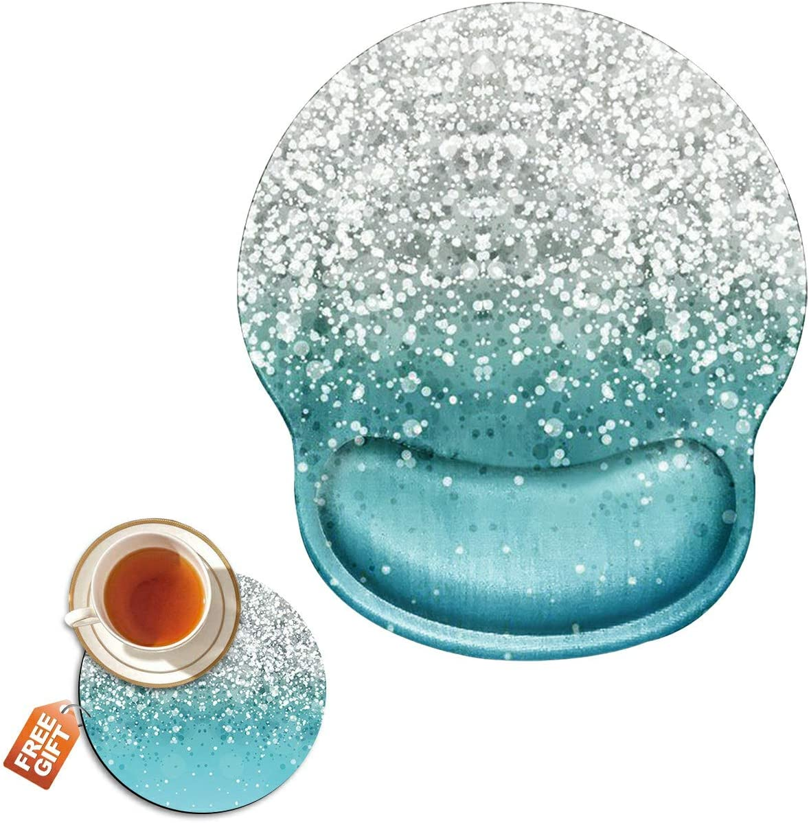 Ergonomic Mouse Pad with Wrist Gel Glitter Blue Sparkle Support Classic 1 year warranty