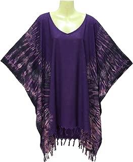 ATM Poncho Caftan Tops Kaftan Blouse Non-Fade Real Handmade Tie dye Color Plus Size