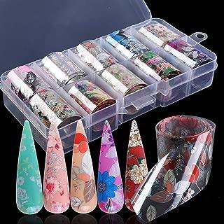 Macute Nail Foil Transfer Stickers Nail Art Supplies Foil Transfers 10 Rolls Flowers Starry Sky Nail Decals Manicure Tips Wraps Nail Art Decorations for Women Fingernails Toenails DIY Beauty Designs