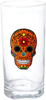 Circleware 76857 Halloween Sugar Skull Hiball Cooler Set of 4 Heavy Drinking Glass Tumbler Cups for Water, Juice, Milk, Beer, Whiskey, Vodka, Farmhouse Decor, 14.5 oz, Black, White, Purple, Orange