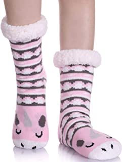 Women's Cute Knit Cartoon Animal Face Soft Warm Fuzzy Fleece Lining Winter Home Slipper Socks