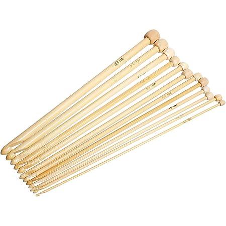 SiAura Material ® - 1 lot de 12 crochets tunisiens en bambou 3-10 mm
