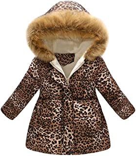 Girls' Winter Long Parka Leopard Coat Puffer Jacket Padded Fur Hood Warm Adorable Overcoat