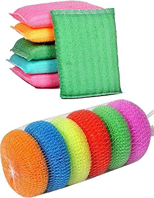 RedCrush Foam Pad Sponge and Plastic Scrub Pads Scourer Kitchen Scrubber for Dish/Utensils/Tiles Cleaning (Multicolour, Standard)