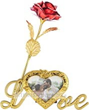 INTERNATIONAL GIFT Valentine Gift Red Rose and Photo Frame Stand with Beautiful Carry Bag (25 cm, Gold)