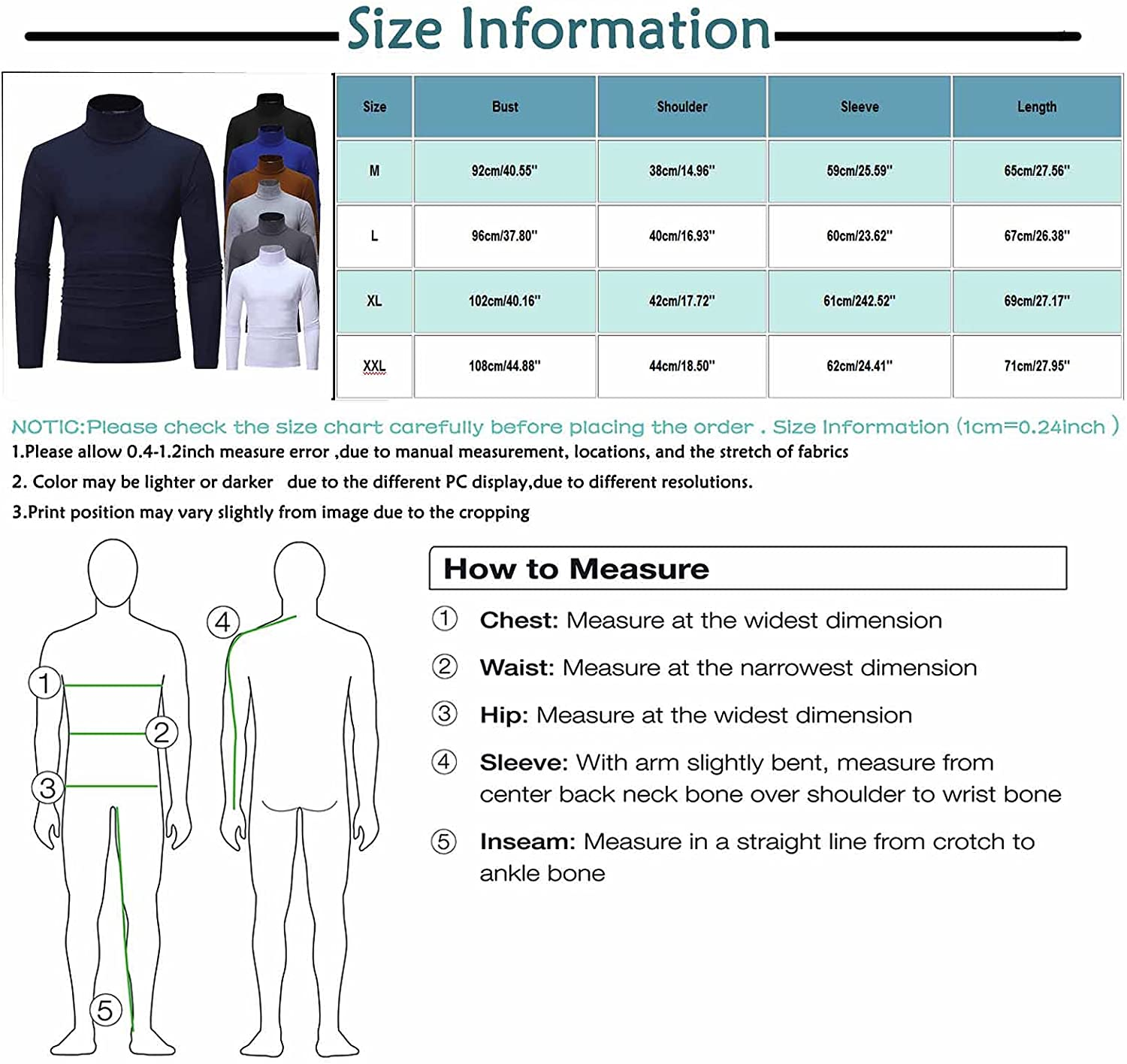 Crazylover Mens Turtleneck T Shirt Slim Fit Basic Sweaters Lightweight Thermal Tops Casual Long Sleeve Pullover Blouses