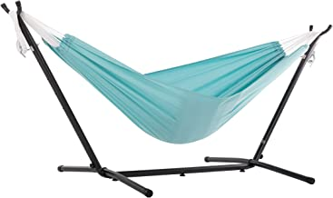 Vivere Double Polyester Hammock with Space-Saving Steel Stand, Aqua