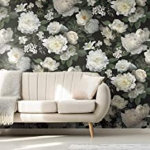 RoomMates RMK11239M Black Photographic Floral Peel and Stick Wallpaper Mural - 10 ft. x 6 ft.
