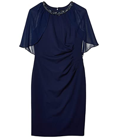 Adrianna Papell Chiffon Capelet Cocktail Sheath Dress (Light Navy) Women