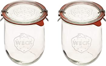 Weck Jars - Weck Tulip Jars 1 Liter - Large Sour Dough Starter Jars - Tulip Jar with Wide Mouth - Suitable for Canning and...