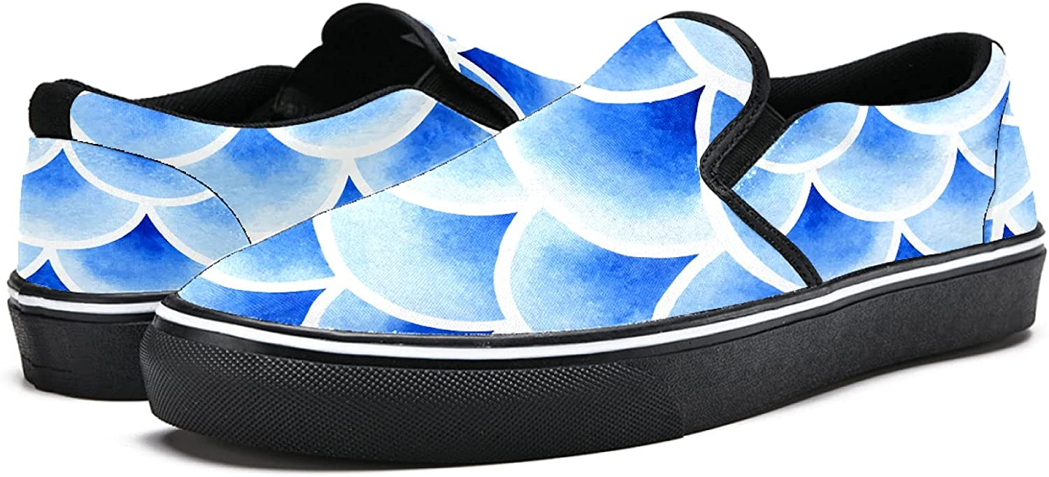 Men's Classic Slip-on Canvas Shoe Fashion Sneaker Casual Walking Shoes Loafers 7 Watercolor Fish Scales