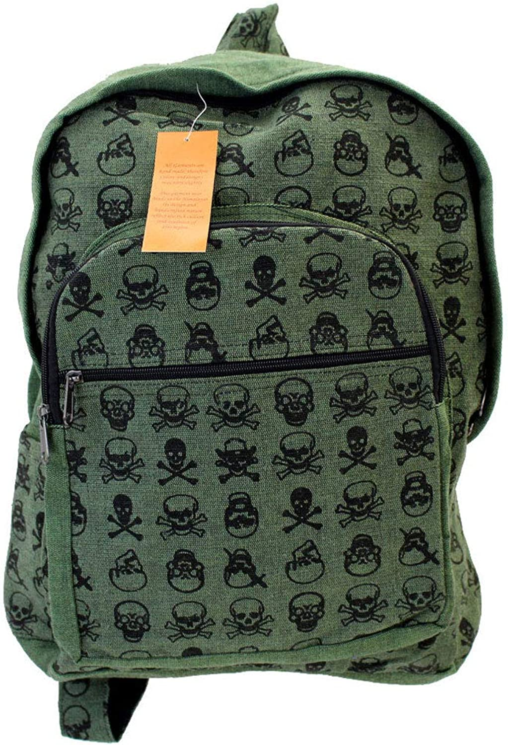 Fair Trade Skull Backpack, Handcrafted in the Himalayas (Green)