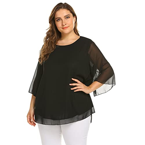 d81d656031c IN'VOLAND Plus Size Women Pullover Chiffon Blouse 3/4 Sleeve Solid Chiffon  Loose