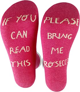 VIFUUB Novelty Wine socks - If You Can Read This, Bring Me Prosecco - Kintted Cotton Crew Socks Gifts for Father's day