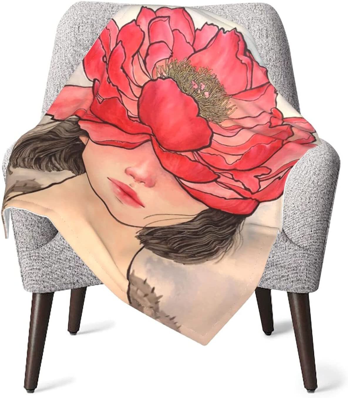 Austin Mall Baby Blanket Beautiful Woman Girl Bed Nursery Max 57% OFF Bl Wearing Flowers