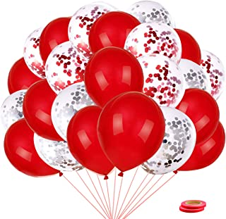 40Pcs Red Balloons Set 12 Inch Latex Balloons, Wedding Birthday and Baby Shower Engagement Anniversary Graduation Hen Part...