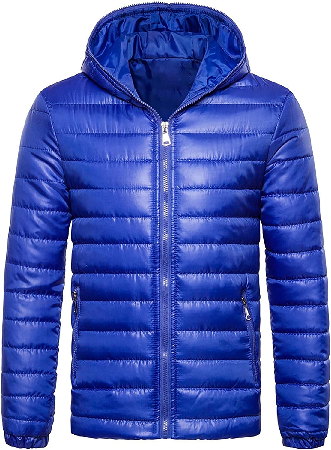 Men's Hooded Puffer Coat Winter Warm Down Packable Outerwear Classic All-match Coat Thick Padded Jacket Lightweight