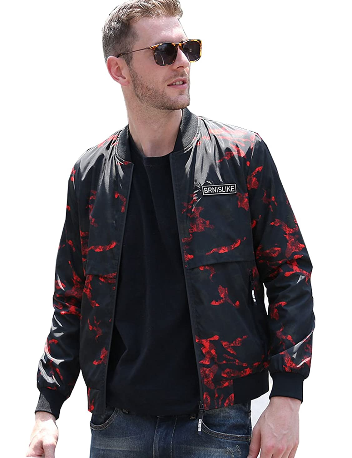 UNbox-HT Mens Jacket Coat Spring Autumn Camouflage Stand Collar Rib Sleeve Camo
