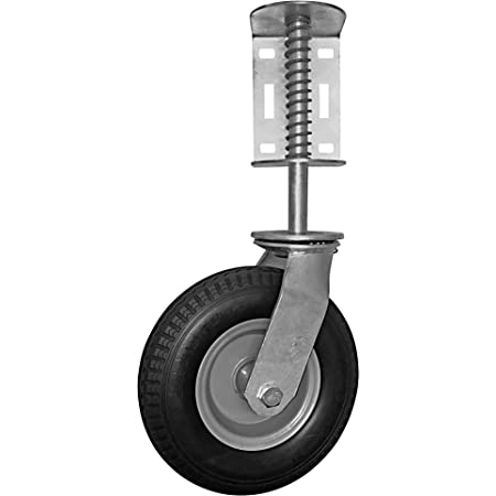 5 Inch Gate Wheel Rubber Gate Casters Spring Loaded Swivel Caster Heavy Duty Castors for Furniture 220lbs Load Capacity,Height Adjustable 30//60mm,with Universal Mount Plate brake30mm