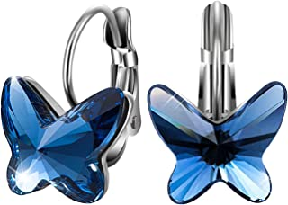 SIVERY 'Butterfly Dream' Blue Hoop Earrings with Swarovski Crystals, Gifts for Women