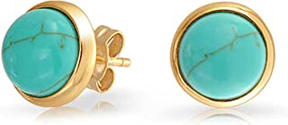 Simple Gemstone Created Blue Lapis Turquoise Bezel Set Round Dome Button Stud Earrings For Women 14K Gold Plated 925 Sterling Silver