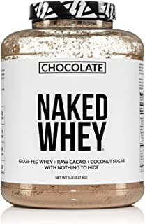 Naked Whey Chocolate Protein - All Natural Grass Fed Whey Protein Powder, Organic Chocolate, and Coconut Sugar 5lb Bulk, G...