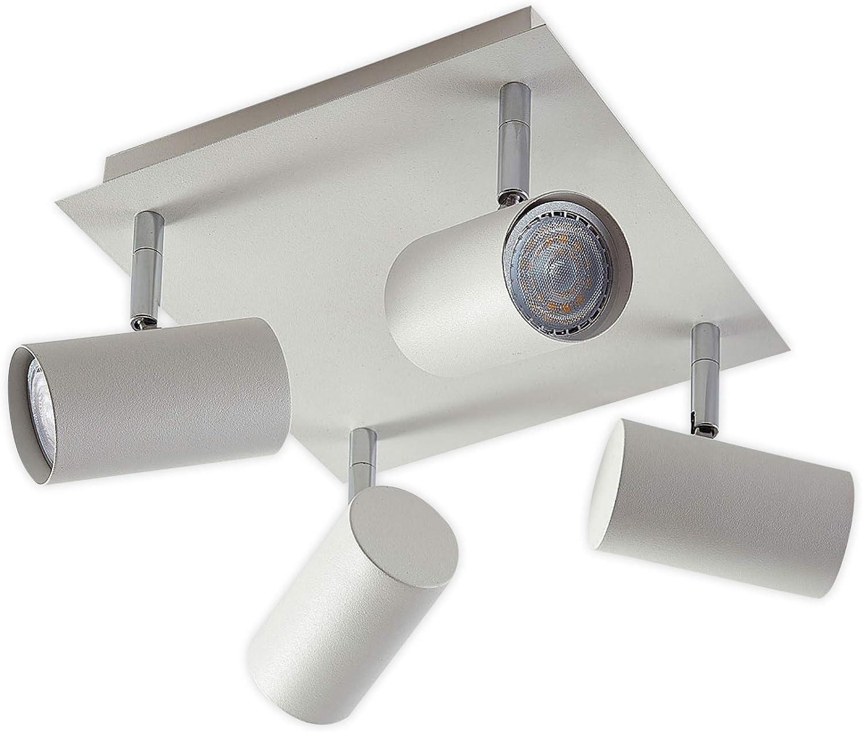 Lampenwelt LED Deckenlampe 'Iluk' (Modern) in Wei aus Metall u.a. für Wohnzimmer & Esszimmer (4 flammig, GU10, A++, inkl. Leuchtmittel) - Deckenleuchte, Wandleuchte, Strahler, Spot, Lampe