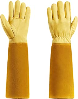 Gardening Gloves For Women and Men, Rose Pruning Thorn Proof Goatskin Gloves With Long Cow Leather Gauntlet (M)