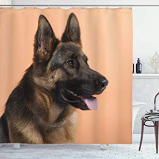 Lunarable German Shepherd Shower Curtain, Close-up Photo of a Young Dog in Front of Orange Backdrop, Cloth Fabric Bathroom Decor Set with Hooks, 70