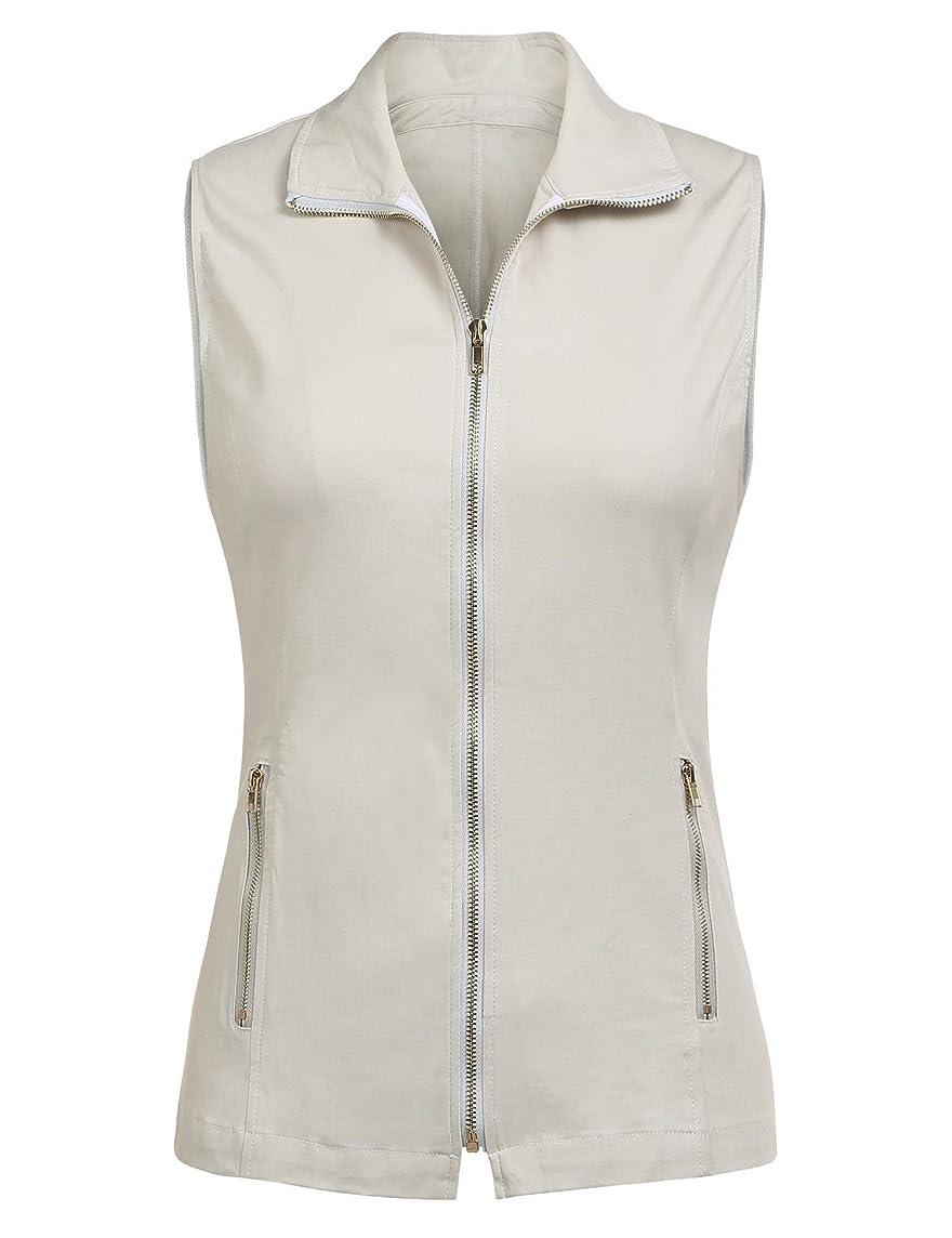 Dealwell Women's Lightweight Vest Casual Zipper Military Cotton Jacket Plus Size