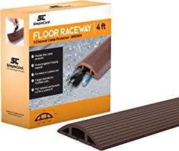 SimpleCord Brown Floor Cable Cover - 4 Ft Duct Cord Protector Covers Cables, Cords, or Wires - 3 Channel On Floor Raceway ...