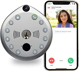 Gate Labs | | WiFi Enabled Home Security Smart Lock with Built-In Camera & Two-Way Audio - Keyless Entry, Battery Powered, LED Lit, One size, Satin Nickel