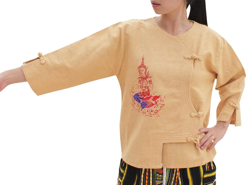 RaanPahMuang Cross Cut Formal Ladies Thick Cotton Shirt Painted Mixed Art