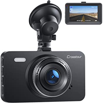 "Dash Cam, Crosstour 1080P Car DVR Dashboard Camera FHD with 3"" LCD Screen 170°Wide Angle, WDR, G-Sensor, Loop Recording and Motion Detection"