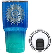 YETI Coolers 30 Ounce (30oz) (30 oz) Custom Rambler Tumbler Cup Mug with New Magslider Lid (Engraved Sun Ombre)