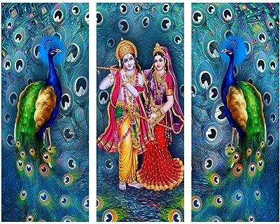 ARTAMORI Shree Radhe Krishna with Peacock 3 Piece MDF Painting