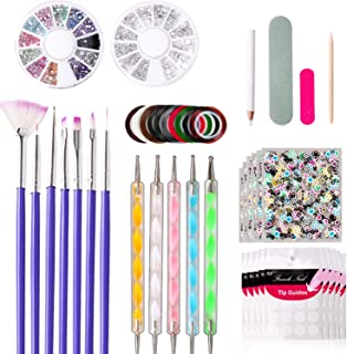 Nail Art Decorations Set, FUNJIA 11Pcs Nail Accessories Art Kit with French Nail Art Stickers, 3D Nail Art Stickers