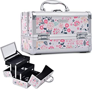 Joligrace Portable Makeup Train Case for Girl Cosmetic Organizer Box 2 Trays Key Lock Jewelry Storage with Mirror (White Floral)