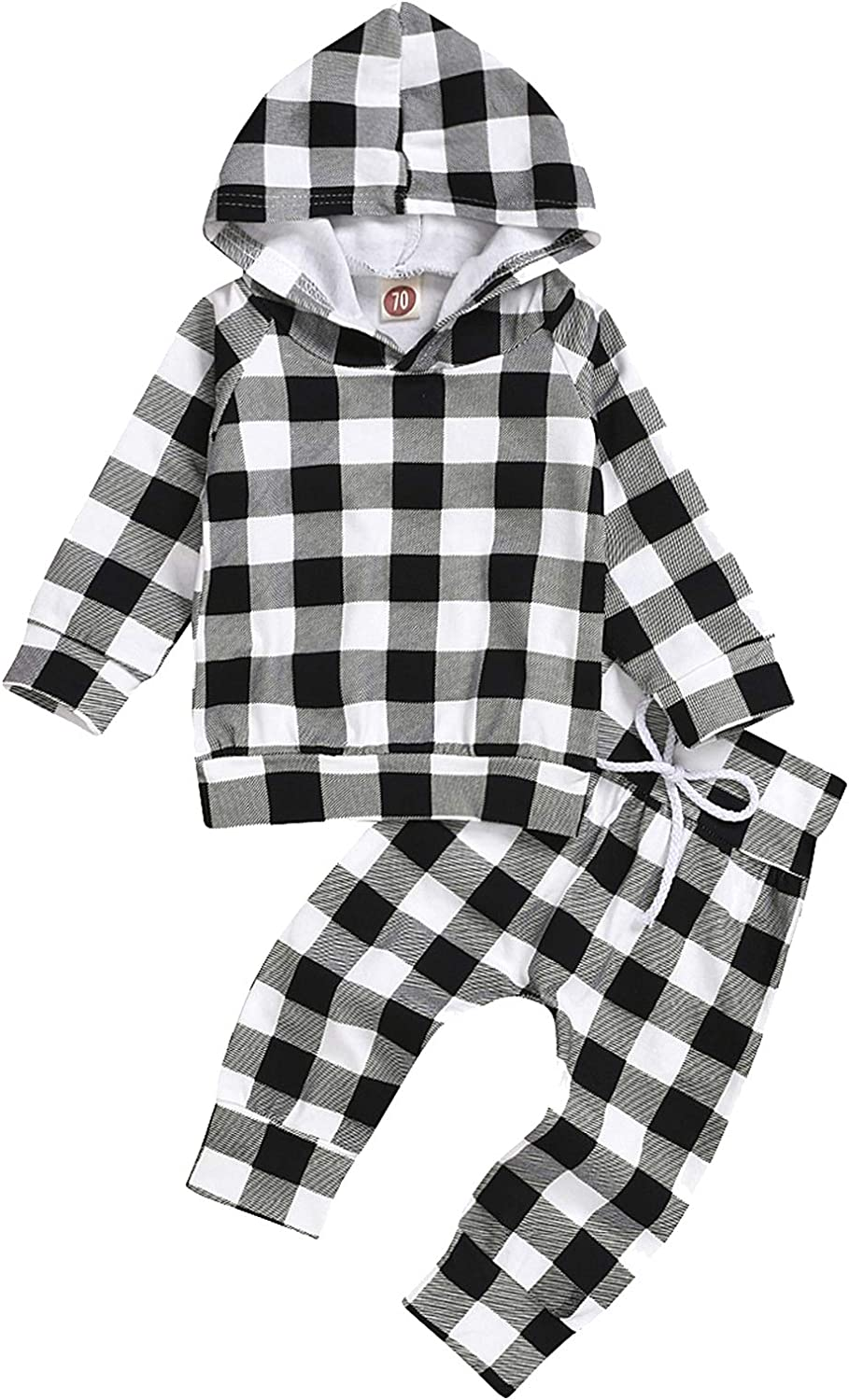 Baby Girls Boys Christmas Outfit Plaid Long Sleeve Tops + Pants Sets